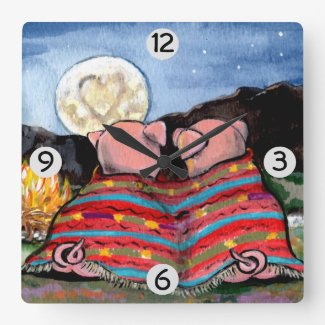Pigs in a Blanket Romantic Night Moon Stars Art Square Wall Clock