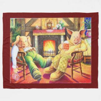 Pigs in a Pub Fleece Blanket
