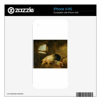 Pigs in a Sty by George Morland Decal For The iPhone 4S
