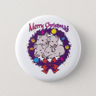 Pigs in Christmas Wreath Pinback Button