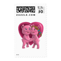 Pigs In Love against a large red heart Postage