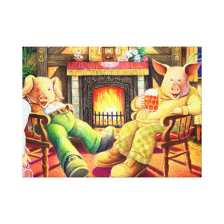 Pigs in the Pub Wrapped Canvas