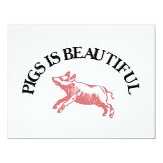 "Pigs is Beautiful 4.25"" X 5.5"" Invitation Card"