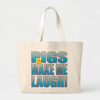Pigs Laugh Life B Large Tote Bag