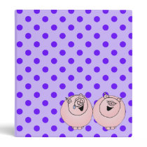 Pigs laughing on purple stripes, polka dots 3 ring binder