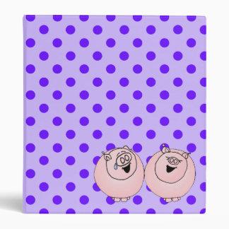 Pigs laughing on purple stripes, polka dots 3 ring binder
