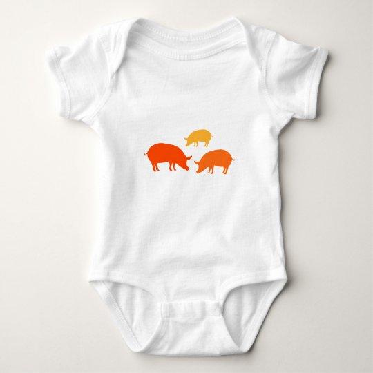 Pigs Looking for Food (Orange) Baby Bodysuit