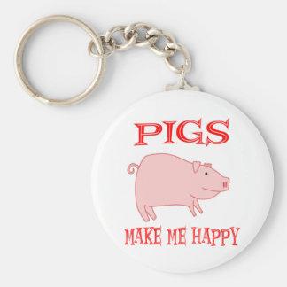 Pigs Make Me Happy Basic Round Button Keychain