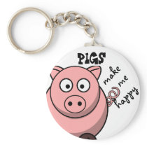 Pigs Make Me Happy Keychain