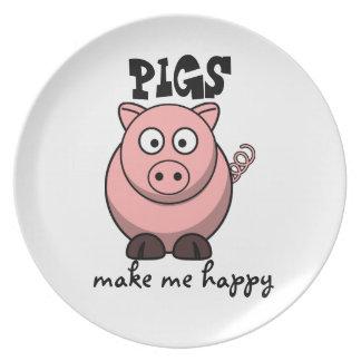 Pigs Make Me Happy Melamine Plate