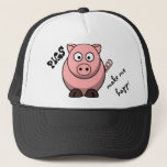 """Pigs Make Me Happy Trucker Hat<br><div class=""""desc"""">Pigs Are Happy Creatures... And They Make Me Happy. You can&#39;t look at this little piggy without smiling so just be happy. :)</div>"""