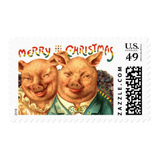 Pigs Merry Christmas from Us Vintage Victorian Art Postage Stamp