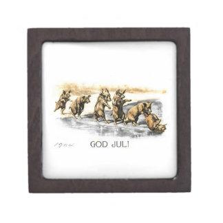Pigs on Ice - God Jul Keepsake Box