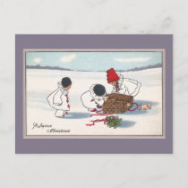 Pigs on the Lam Vintage Christmas Holiday Postcard
