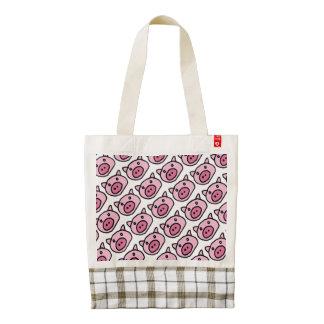 pigs pattern . oink zazzle HEART tote bag