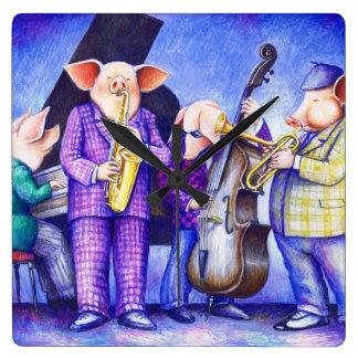 Pigs Playing Jazz Wall Clock