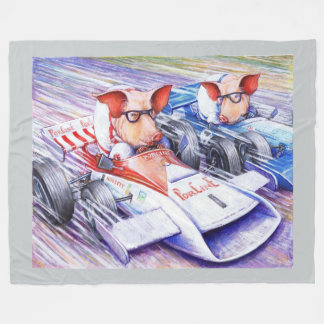 """Pigs Racing Cars Fleece Blanket, 60""""x80"""" Fleece Blanket"""