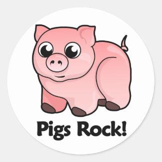 Pigs Rock! Classic Round Sticker