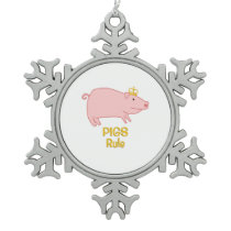 Pigs Rule Golden Crown Snowflake Pewter Christmas Ornament