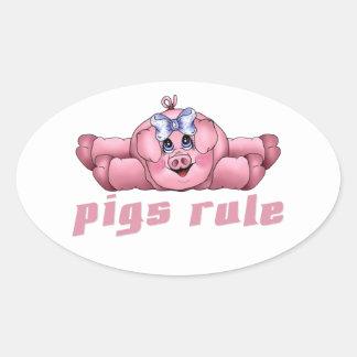 Pigs Rule Oval Sticker