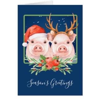Pigs Santa and Reindeer Couple Christmas Card