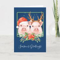 Pigs Santa and Reindeer Couple Christmas Holiday Card