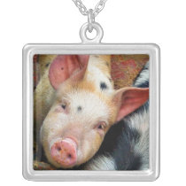 PIGS SILVER PLATED NECKLACE