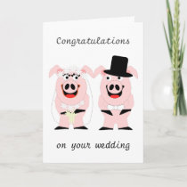 Pigs Wedding Card