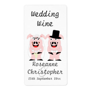 Pigs Wedding Wine Label