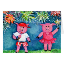 Pigs with Fireworks Card