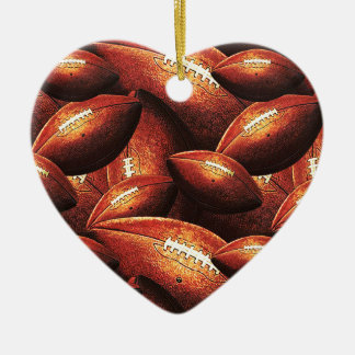 Pigskins Galore All Over Football Design Christmas Ornaments