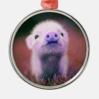 Pigsy púrpura adorno navideño redondo de metal