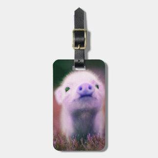 Pigsy púrpura etiqueta para maleta