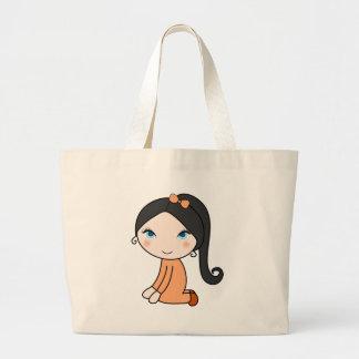Pigtail hair girl cartoon large tote bag