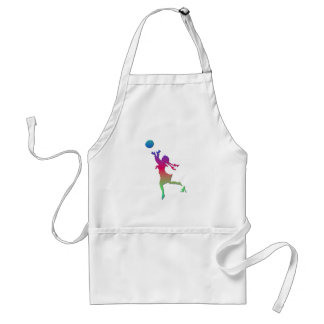 Pigtailed girl playing with a ball... adult apron