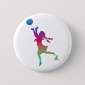 Pigtailed girl playing with a ball... button