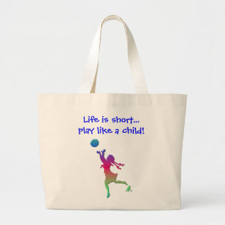 Pigtailed girl playing with a ball... large tote bag
