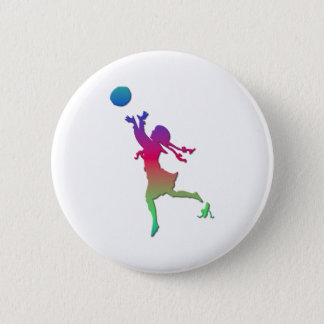 Pigtailed girl playing with a ball... pinback button