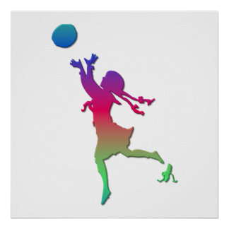 Pigtailed girl playing with a ball... poster