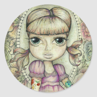 Pigtails and Tatto's Round Stickers
