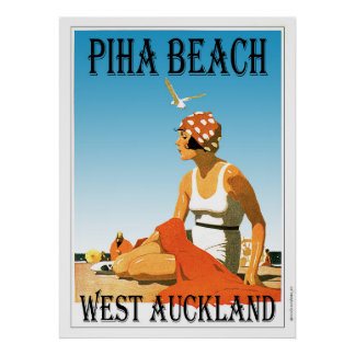 Piha Beach West Auckland Beach Poster