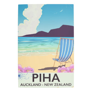 Piha New Zealand vintage travel poster