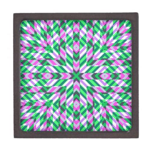 Piink y fractales verdes caja de recuerdo de calidad