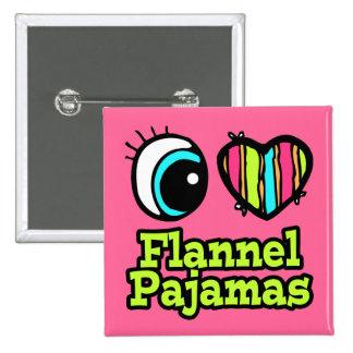 Pijamas brillantes de la franela del amor del cora pin cuadrado