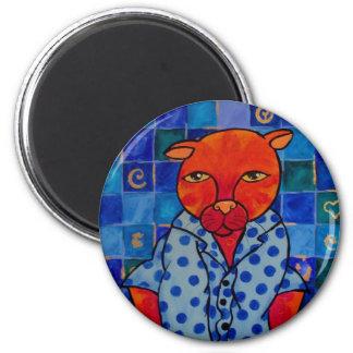 Pijamas de los gatos imán redondo 5 cm