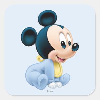 Pijamas del azul de Mickey el   del bebé Pegatina Cuadrada