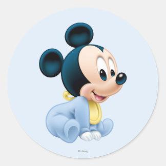 Pijamas del azul de Mickey el | del bebé Pegatina Redonda