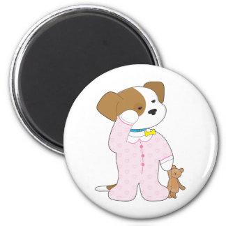 Pijamas lindos del perrito imán redondo 5 cm