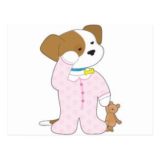 Pijamas lindos del perrito tarjeta postal