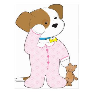 Pijamas lindos del perrito tarjetas postales